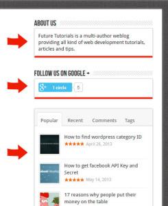 WordPress - primer stranskega stolpca