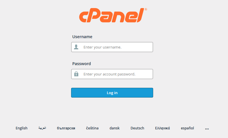 cPanel - Log in