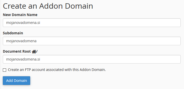 cPanel - Create an Addon Domain