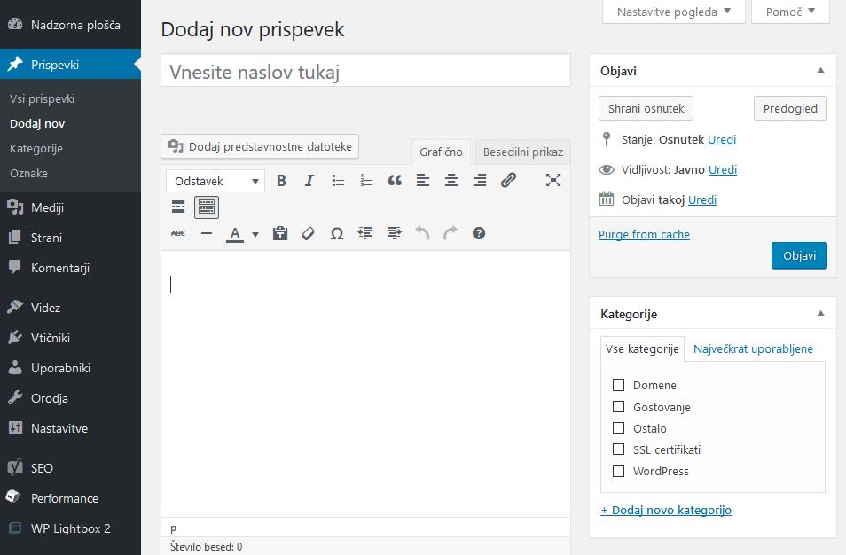 WordPress urejevalnik
